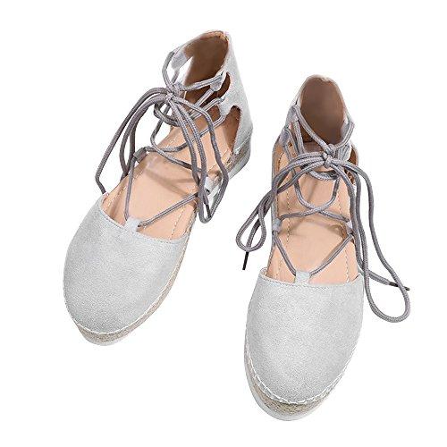 - Rainlin Women's Crisscross Lace up Espadrille Platform Sandals Cut Out Ankle Wrap Flat Shoes Size 9.5 Grey
