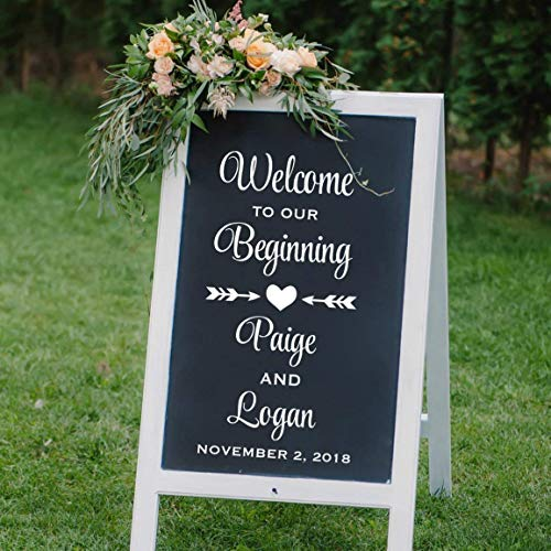 VinylWritten, Welcome To Our Beginning, Personalized Welcome Wedding Decal, Reception Welcome Sticker, DECAL ONLY -