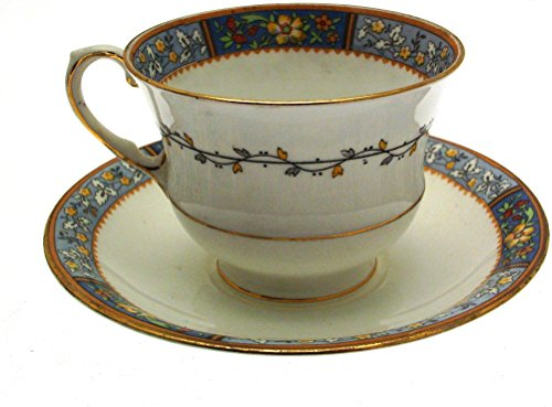 Aynsley A4670 Blue Floral Cup and Saucer