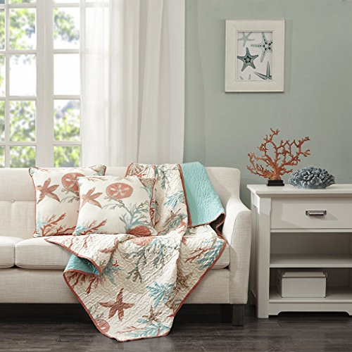Madison Park Pebble Beach Luxury Oversized Cotton Quilted Throw Coral Aqua 50x70   Coastal  Premium Soft Cozy Cotton Sateen For Bed, Couch or Sofa