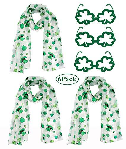 Jaweaver Women's Square Oblong Silk Satin Scarves Vintage Dots Head Scarf Shawl (St Patricks Day 6PCs-Set) ()