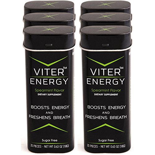 Viter Energy Spearmint Caffeinated Mints – 40mg Caffeine & B-Vitamins Per Powerful Sugar Free Mint. Boost Energy, Focus & Fresh Breath. 2 Pieces Replace 1 Coffee, Energy Drink, Caffeine Candy & Gum