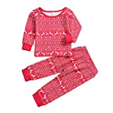 Kamendita Christmas Family Matching Boys Girls Pajamas PJs Set Reindeer Tops Blouse Pants Family Pajamas Sleepwear Sets