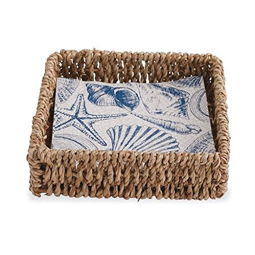 (Mud Pie Gifts Seashell Napkin Basket Set w 12 Shell Printed Paper Napkins)