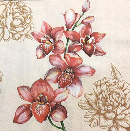 2 single Paper Napkins for DECOUPAGE Crafts Collection Party Spring Exotic Flowers iris ()