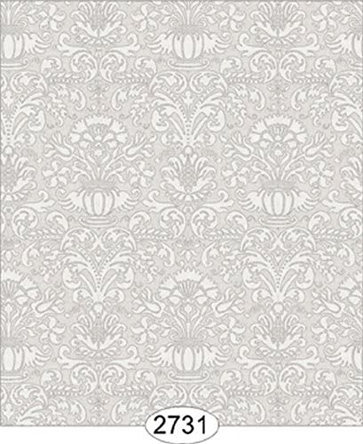 Dollhouse Wallpaper Annabelle Mini Damask Grey Silver