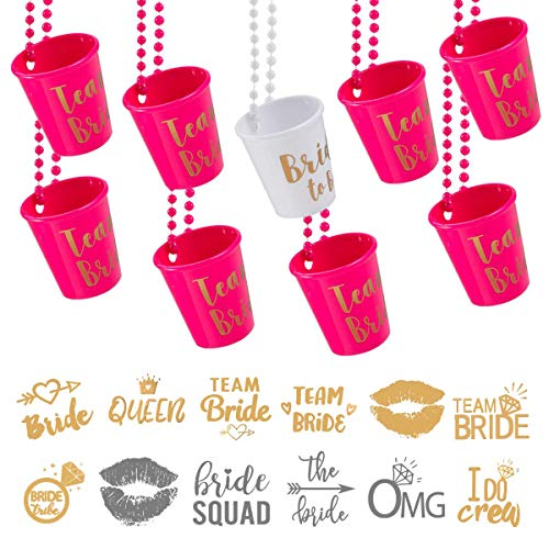 Bachelorette Party Supplies, 12 Pack Team Bride and Bride to Be Beaded Bridal Shot Glass Necklace with 24 Pack Bride Tribe Metallic Tattoos
