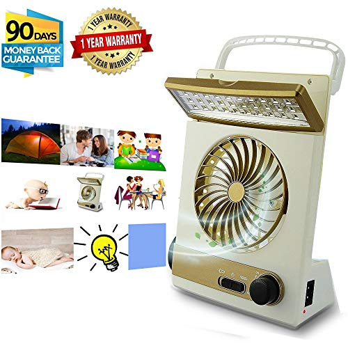 Price comparison product image KASQA Portable Fan Solar Mini Fan LED Table Lamp 3 in 1 Multi-Function Eye-Care Flashlight Light for Home Camping Solar Cooling Fans (Gold)