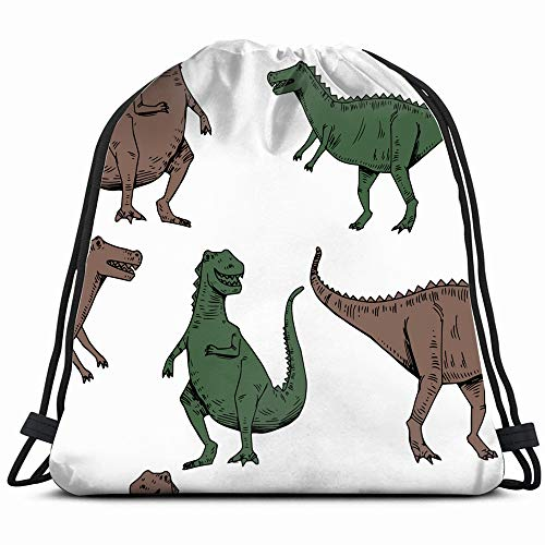 Vintage Wallpaper Print Shirt - Dinosaur Vectors Animals Wildlife Drawstring Backpack Bag Sackpack Gym Sack Sport Beach Daypack For Girls Men & Women Teen Dance Bag Cycling Hiking Team Training