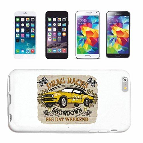 """cas de téléphone iPhone 6S """"COURSES DRAG SHOWDOWN BIG DAY WEEKEND HOT ROD CAR US Mucle CAR V8 ROUTE 66 USA AMÉRIQUE"""" Hard Case Cover Téléphone Covers Smart Cover pour Apple iPhone en blanc"""