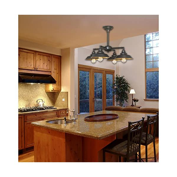 Oil Rubbed Bronze Finish with Highlights Westinghouse Lighting 6345000 Iron Hill Four-Light Indoor Chandelier//Semi-Flush Ceiling Fixture