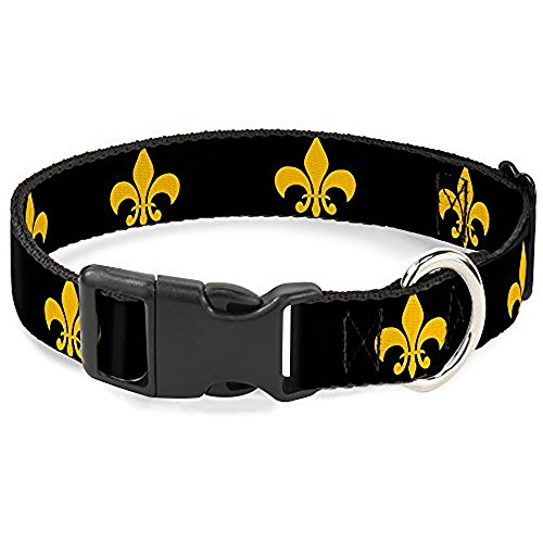 Buckle-Down Plastic Clip Collar - Fleur-de-Lis Black/Yellow - 1/2