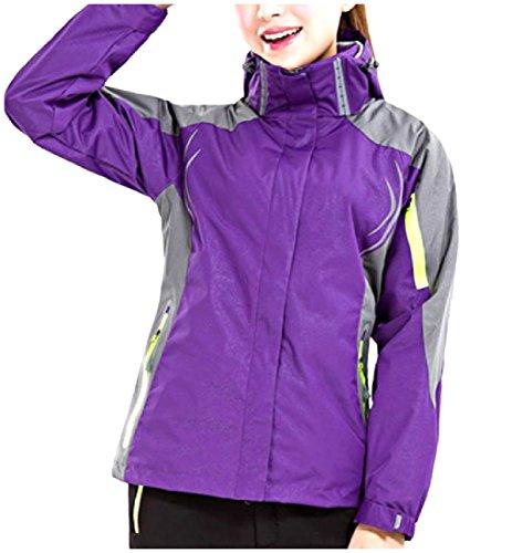 NQ Women's Fall Winter Windproof 2-Piece Flannel Bugaboo Jacket Purple (Bugaboo Parka)