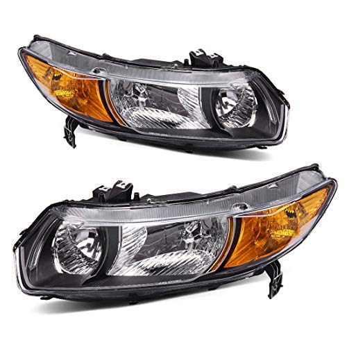 For 2006-2011 Honda Civic 2-Door Coupe Headlight Assembly Black Housing Clear Lens Amber Reflector - Driver and Passenger Side