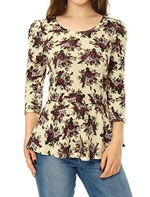 Allegra K Women's Scoop Neck 3/4 Puff Sleeves Printed Peplum Top