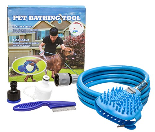 Pet Bathing Tool Set with Flea Comb | Shower Sprayer with Silicon Flea Comb Brush | For Washing, Grooming, Shampooing, Deshedding, Bathing Pets with Water | Wet Brush for Dog, Cat, Long or Short Hair
