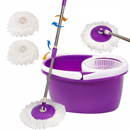 Easy Magic Floor Mop 360° Bucket 2 Heads Microfiber Spin Spinning Rotating Head (Purple)