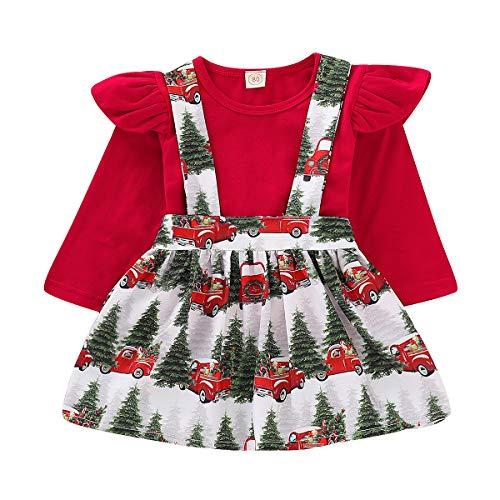 ZOELNIC Baby Girls Suspender Skirt Set Ruffle Long