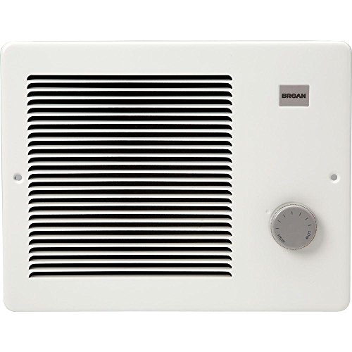 Broan Wall Heater, White Grille Heater with Built-In Adjustable Thermostat, 750/1500W, 120/240V AC (Ceramic Heater Wall Mount)