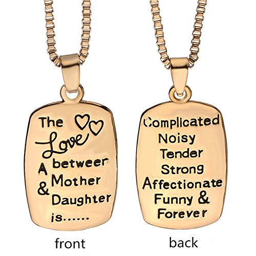 Mother Daughter Necklace The Love Between Mother and Daughter is Forever Complicated Mom Daughter Jewelry Charm Gifts for Mom Daughter Gold
