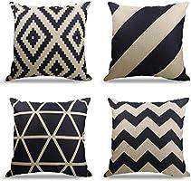 4er Set Dekorativ Kissenbezug Geometrische Muster, Sofa Büro Dekor Kissenhülle aus Baumwoll und Leinen (Dunkelblau, 45X45cm)