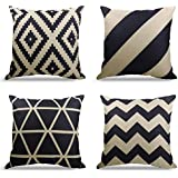 WEYON Geometrict Pattern Throw Pillows Covers 18 x 18 Inch Cotton Linen Cushion Covers for Couch Decorative Set of 4