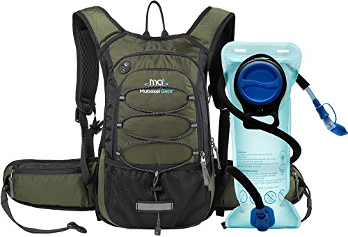 Review Insulated Hydration Backpack Pack with 2L BPA FREE Bladder – Keeps Liquid Cool up to 4 Hours – For Running, Hiking, Cycling, Camping (Olive)
