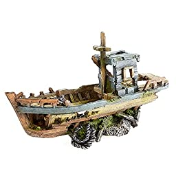 Caldex Classic Romantic Wrecks Sunken Fishing Boat (11.8in) (Brown/Green)