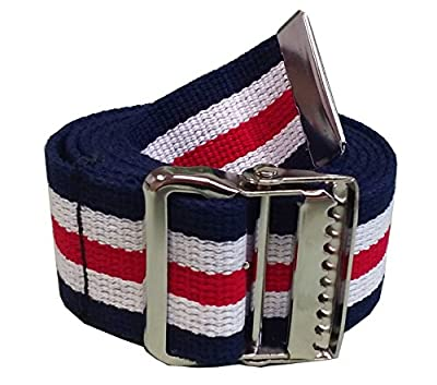 JDM Medical Cotton Gait Belt with Metal Buckle, Red White and Blue