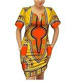Highisa Women African Dashiki Batik Mulit Color Party Club Mini Dress 13 L
