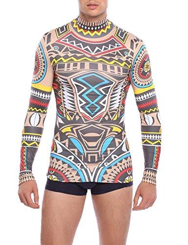 COOFANDY Men's Tribal Style Tattoo Print Slim Maui Nude Shirt