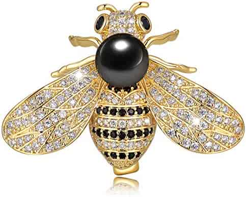 1707137f2 Chamqueen Honey Bee Brooch Rhinestone Insect Themed Pearl Pin Brooches for  Women