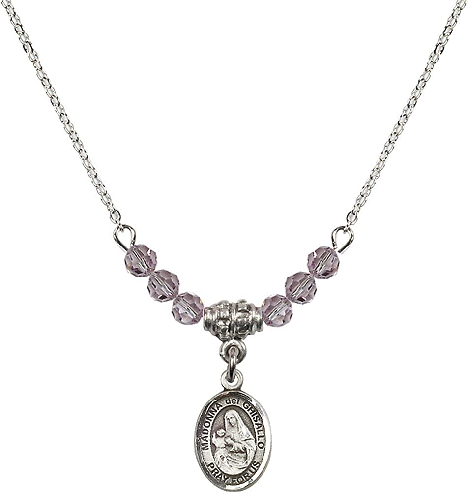18-Inch Rhodium Plated Necklace with 4mm Light Amethyst Birthstone Beads and Sterling Silver Madonna del Ghisallo Charm.