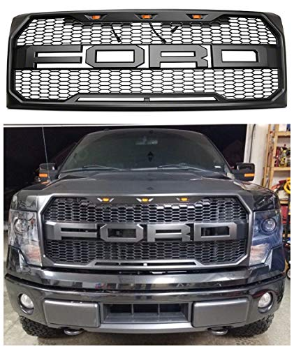 Front Grille Fits 2009-2014 FORD F150 Raptor Style Grill Kits With Amber LED Light and F&R Letter Matte Black