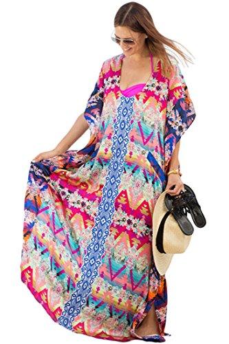 Yiyada Frauen Sexy Böhmen Multicolor Print Kaftan Maxi Strandrock Pareos Strandkleider Überdimensioniert Pareos Strandkleider