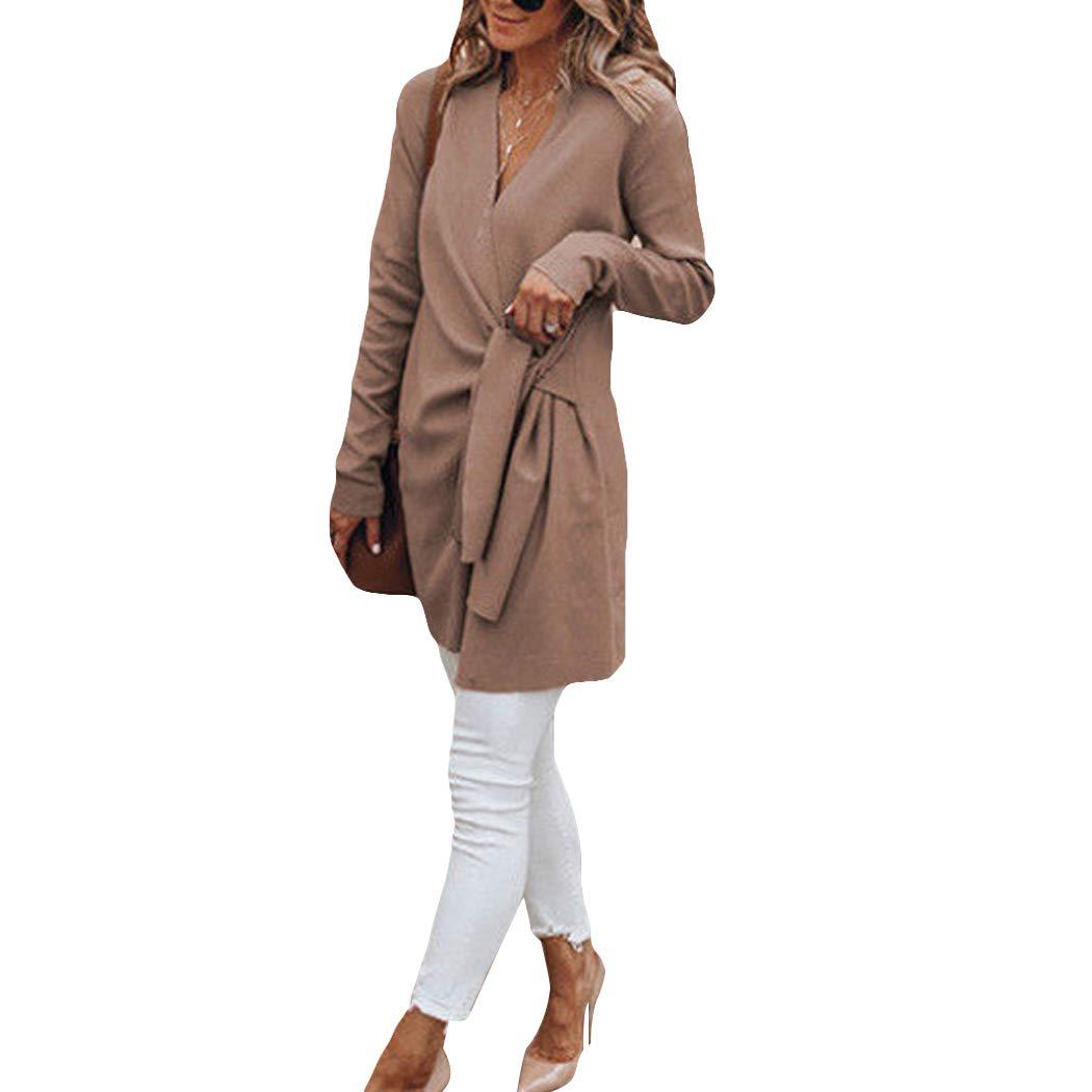 watersouprty Women's Pea Coat Wrap Belted Overcoat Casual Long Sleeve Trench Outwear Jacket
