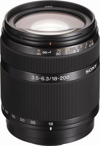 Sony DT 18-200mm f/3.5-6.3 Aspherical ED High Magnification Zoom Lens for Sony Alpha Digital SLR Camera (Sony A55 Lenses)