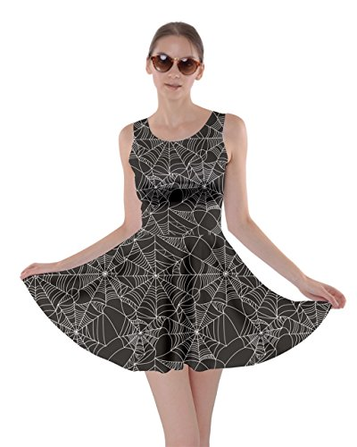 CowCow Womens Black Halloween Spider Web Pattern Skater Dress, Black - L