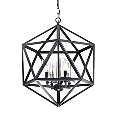 Geometric Iron Lantern Cage Chandelier | Modern Farmhouse Lighting