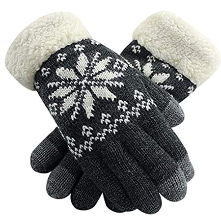 Warmer Touchscreen Gloves Knitted Soft Fleece Lined Hand Wrist Full Finger Texting Smartphone Driving Outdoor Indoor Mitten for Women