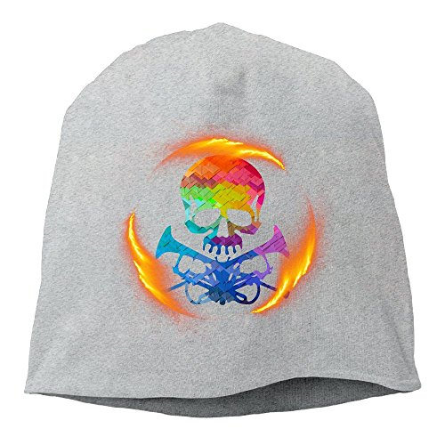 XVSkullCap Skull With Fire Trumpets Skull Caps Cooling Beanies Helmet Liner Unisex Winter Warm Hats Ash