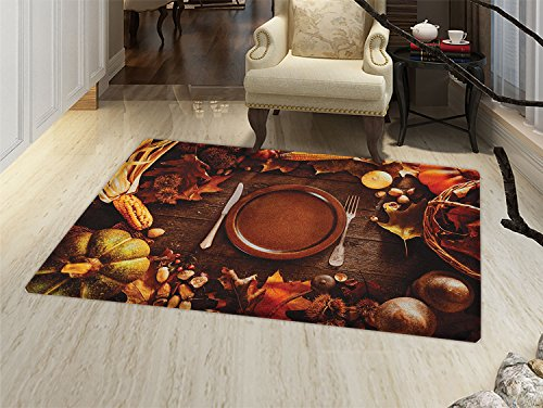 smallbeefly Harvest Door Mat outside Dinner at Thanksgiving Fall Color Theme Plate and Cutlery Various Seasonal Food Bathroom Mat for tub Non Slip Brown Orange ()