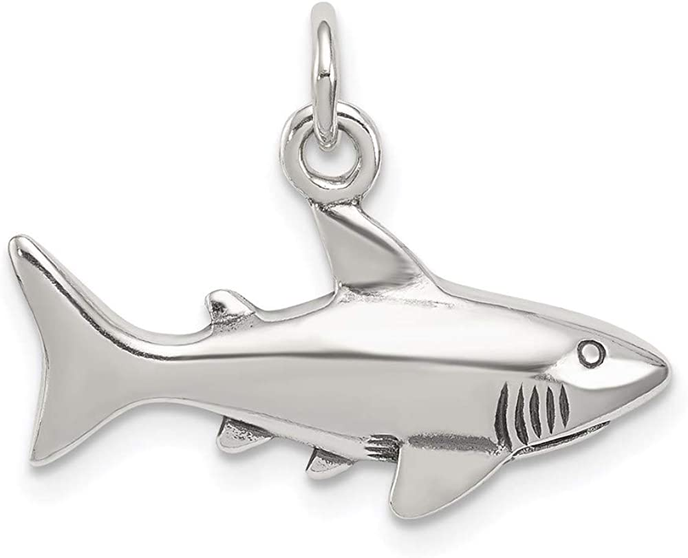 925 Sterling Silver Antique Shark Pendant Charm Necklace Sea Life Fish Man Fine Jewelry For Dad Mens Gifts For Him