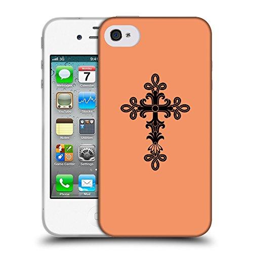 GoGoMobile Coque de Protection TPU Silicone Case pour // Q07890607 Christian Cross 14 Mandarine // Apple iPhone 4 4S 4G