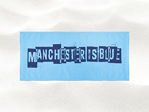 Personalized Corner Manchester is Blue Beach Towel - Champions of England - Gift Idea for Husband Boyfriend Son for Summer (Pep Pool Products)