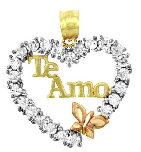 10 ct 471/1000 Or - La Te Amo Or En Oxyde de Zirconium Avec Papillon Pendentif Collier (Livre Avec un 45 cm Chaine)