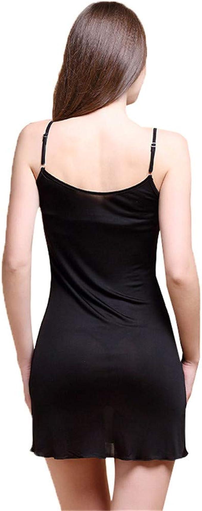 Idealady Damen 100/% Seide Unterkleid /Ärmellos Slim Nachthemd Nachtw/äsche