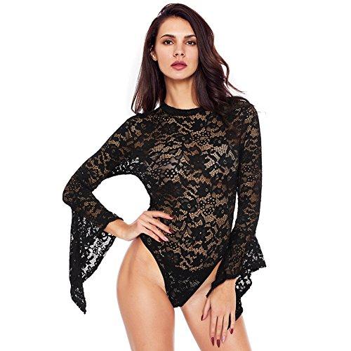 a8ccf88cfca3d Jual Romacci Women Sexy Lace Bell Long Sleeve Mesh Sheer Babydoll ...