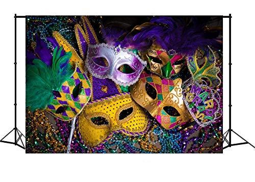 7x5ft Backdrop Mardi Gras Mask Colorful Poster Masquerade Backgrounds Halloween Customized Photography Vinyl Photo Background 0017A