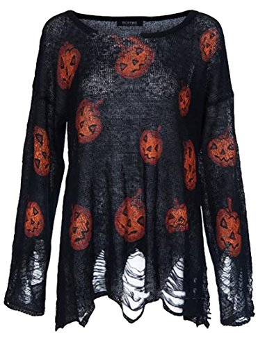 ARRIVE GUIDE Men's Casual Printed Ripped Halloween Knitted Pullover Sweater Black XX-Small